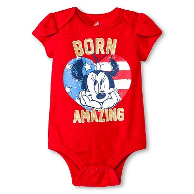 Baby Girls' Minnie Mouse Bodysuit - Red 0-3M