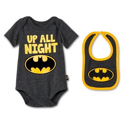 Baby Boys' Batman Bodysuit & Bib Set - Gray 0-3M