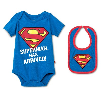 Baby Boys' Superman Bodysuit & Bib Set - Blue NB