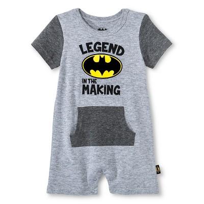 Baby Boys' Batman Romper - Gray 0-3M