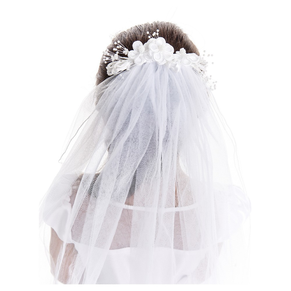 Girls First Communion Headpiece With Attached Veil - White One Size