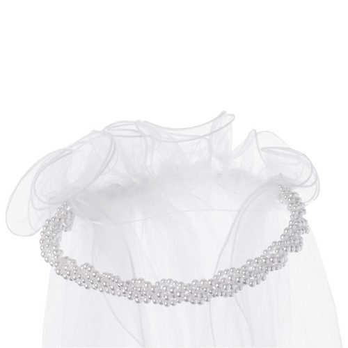 Girls' First Communion Headpiece With Attached Veil - White One Size, Girl's