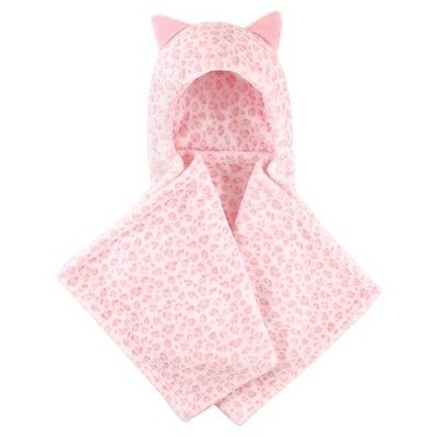 Hudson Baby Coral Fleece Hooded Blanket - Pink Leopard