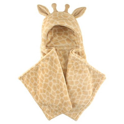 Hudson Baby Coral Fleece Hooded Blanket - Tan Giraffe