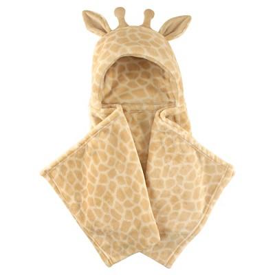 Hudson Baby Coral Fleece Hooded Blanket - Tan Giraffe