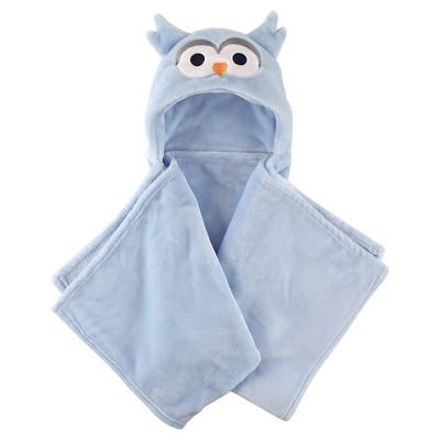 Hudson Baby Coral Fleece Hooded Blanket - Blue Owl