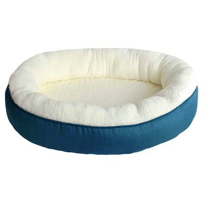 Oval Faux Linen Pet Bed - L - Peacock - Boots & Barkley™