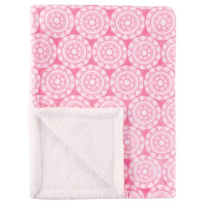 Hudson Baby Plush Blanket with Sherpa Backing - Pink Medallion