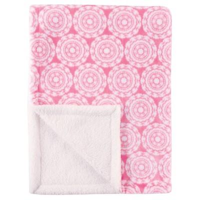 Hudson Baby Plush Blanket with Sherpa Backing - Pink Medallion