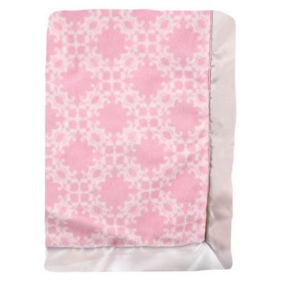 Hudson Baby Plush Blanket with Satin Binding - Pink Damask