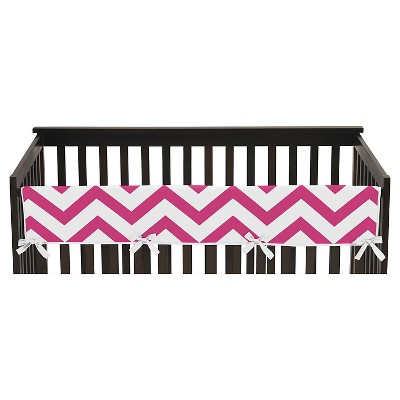 Sweet Jojo Designs Pink & White Chevron Long Crib Rail Guard Cover - Pink