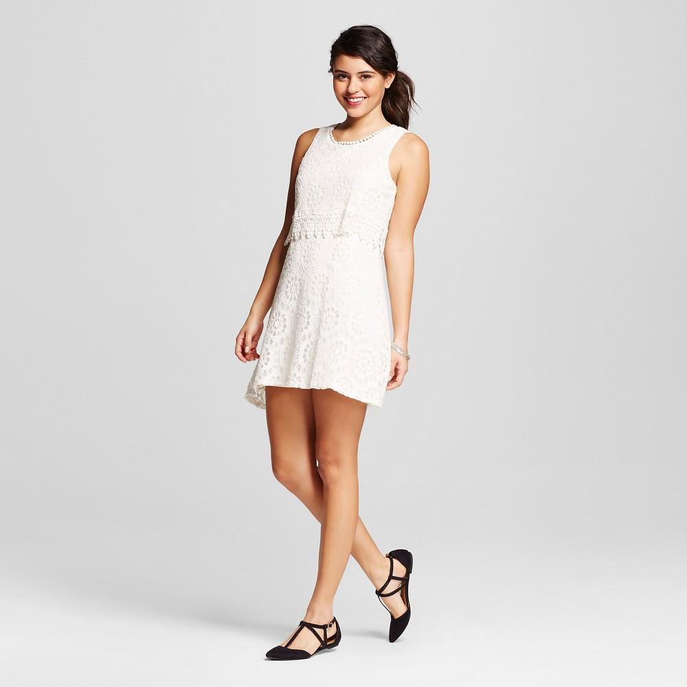 Women's Lace Popover Dress Cream (Ivory) L – Born Famous (Juniors')