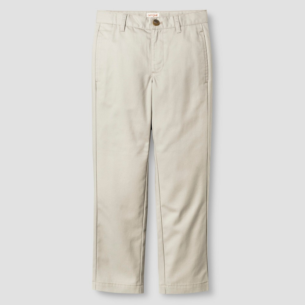 Boys Reinforced Knee Flat Front Pants - Cat & Jack Brown 18 Husky