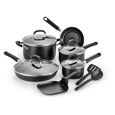 T-fal OptiCook Titanium Nonstick C085SC Dishwasher Safe Cookware 12 Pc Set Black