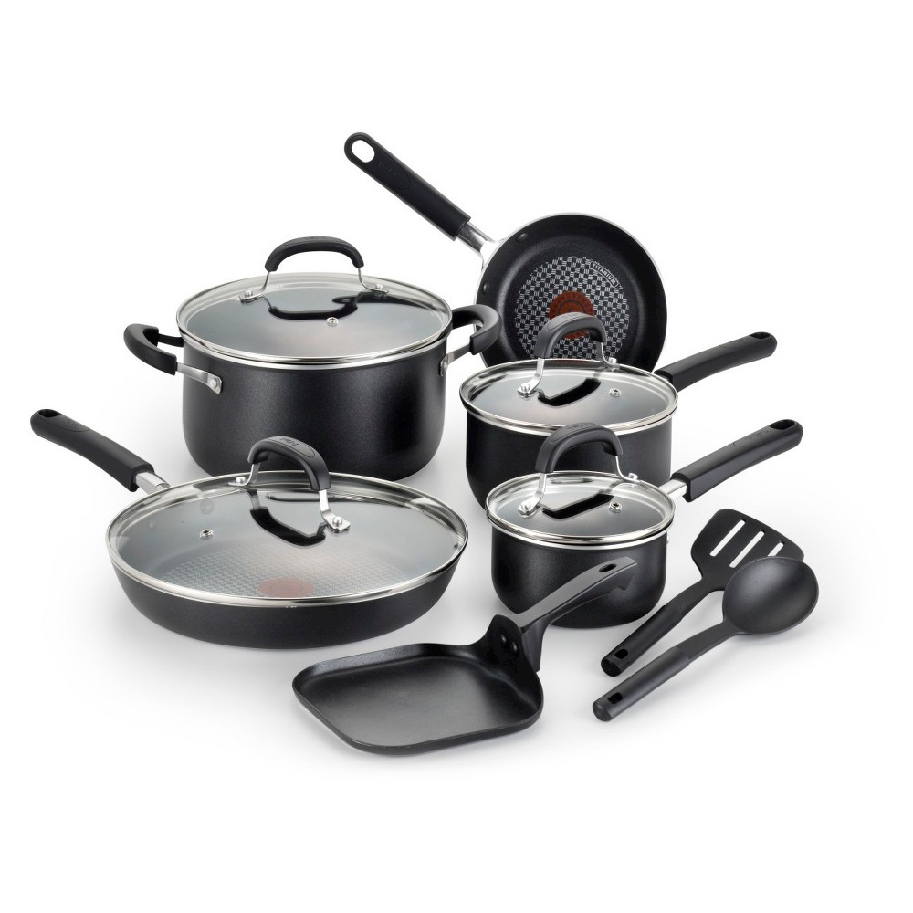 T-fal OptiCook Titanium Nonstick C085SC Dishwasher Safe Cookware 12 Pc Set Black Find Bakeware and Cookware at Target.com! The Hard Titanium non-stick coating is reinforced with Titanium particles, making the cookware safe to use with metal utensils. The Hard Titanium non-stick combined with the reinforced Hard Anodized exterior will give you years of great cooking results Color: Black.