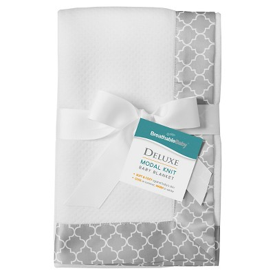 BreathableBaby® Modal Blanket - Moroccan Design - White & Gray