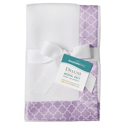 BreathableBaby® Modal Blanket - Moroccan Design - White & Lavender