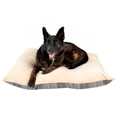 striped orthopedic pet bed