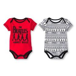 Baby Boys' Beatles 2 Pack Bodysuit Set - Red
