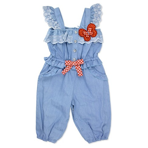 Baby Grand Signature Baby Girls' Chambray Butterfly Jumpsuit - Blue - image 1 of 1