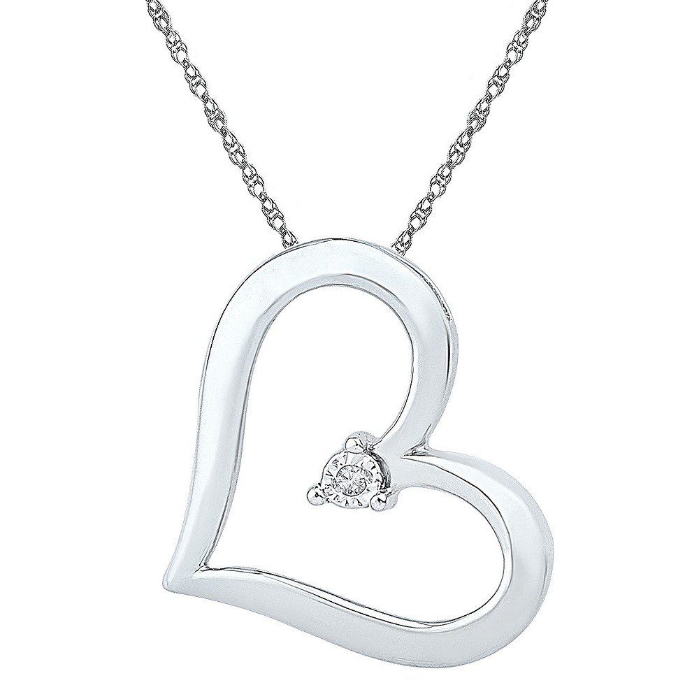 0.010 CT. T.W. Round White Diamond Miracle Set Heart Pendant in Sterling Silver (IJ-I2-I3), Womens