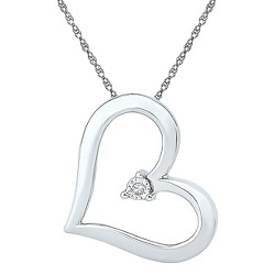 0.010 CT. T.W. Round White Diamond Miracle Set Heart Pendant in Sterling Silver (IJ-I2-I3)