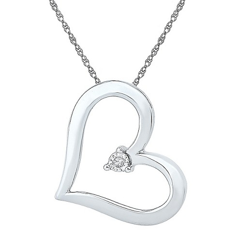 0.010 CT. T.W. Round White Diamond Miracle Set Heart Pendant in Sterling Silver (IJ-I2-I3) - image 1 of 1