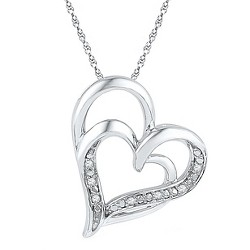 0.030 CT. T.W. Round White Diamond Prong Set Double Heart Pendant in Sterling Silver (IJ-I2-I3)