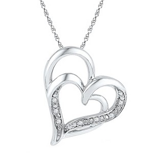 0.030 CT. T.W. Round White Diamond Prong Set Double Heart Pendant in Sterling Silver (IJ-I2-I3), Women