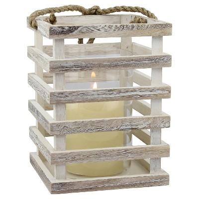 Medium Weathered White Beach House Lantern - CKK Home Décor®