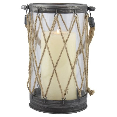 Large Stonebriar Vintage Zinc and Twine Nautical Candle Lantern - CKK Home Decor