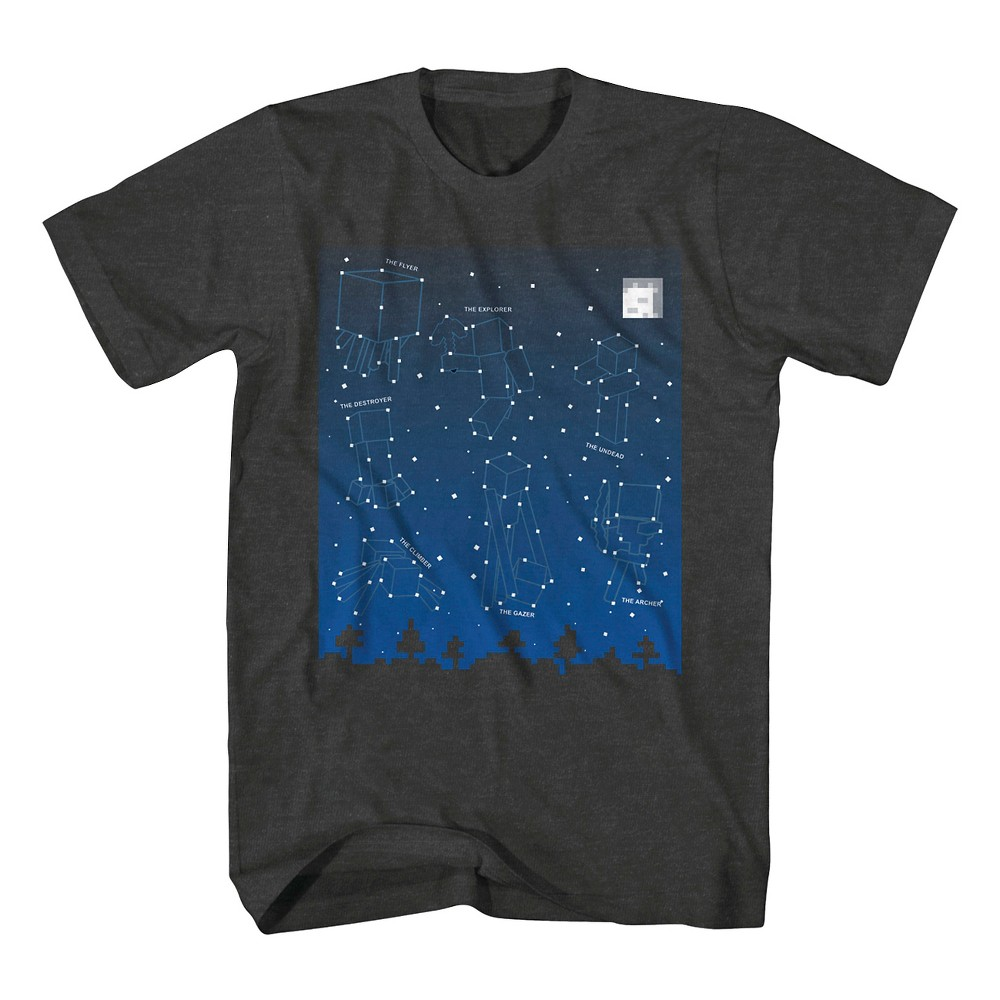 Boys Minecraft Constellation T-Shirt Charcoal Heather Xxl, Gray