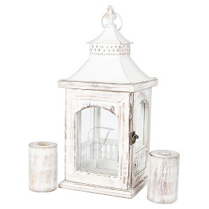 Monogram Rustic Unity Lantern with 2 Candle Holders, Stone-T