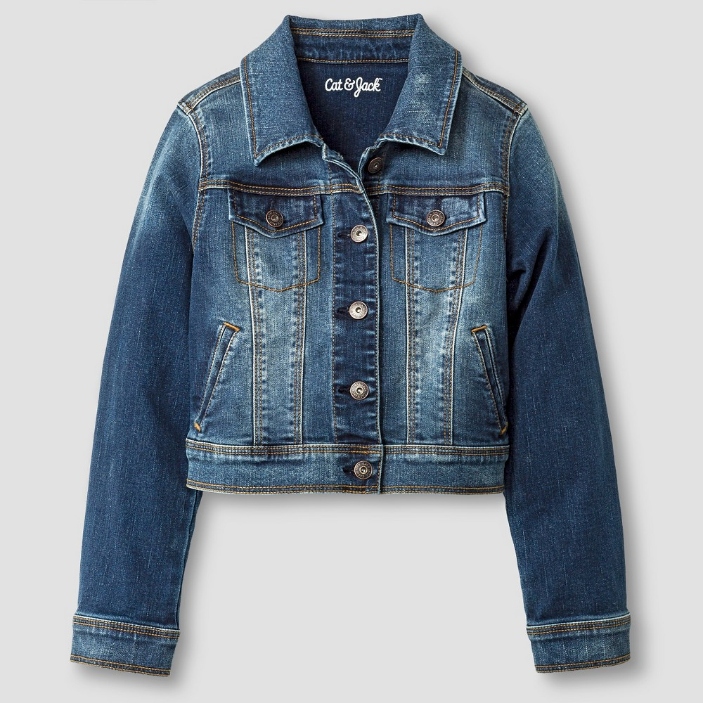 Girls' Jean Jacket - Cat & Jack Dark Vintage Wash X Blue plus size,  plus size fashion plus size appare