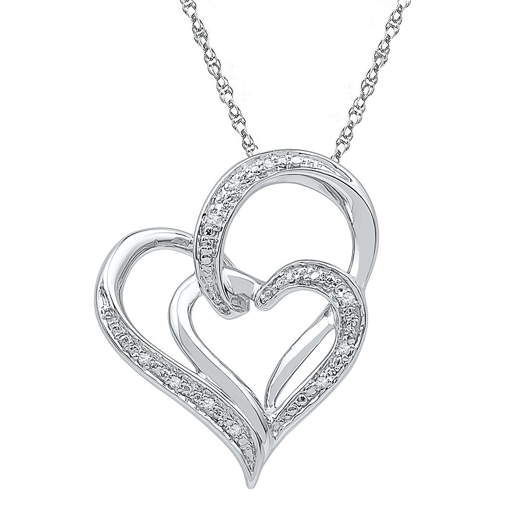 0.030 CT. T.W. Round White Diamond Prong Set Double Heart Pendant in Sterling Silver (IJ-I2-I3), Womens
