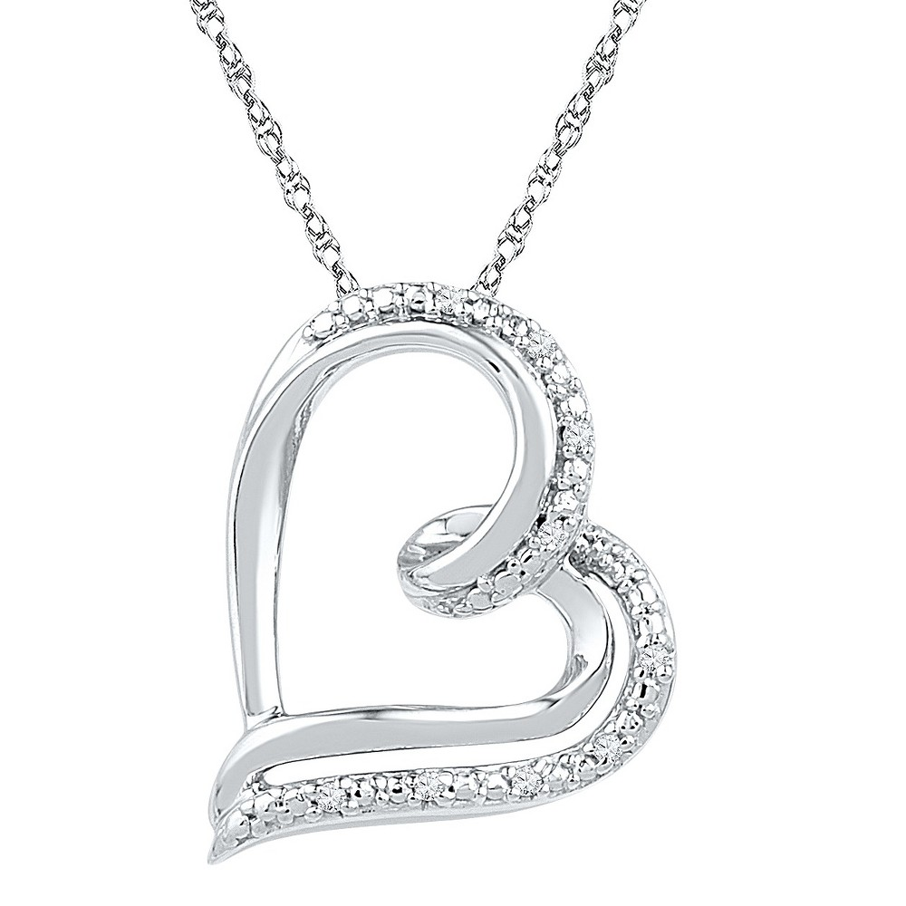 0.030 CT. T.W. Round White Diamond Prong Set Heart Pendant in Sterling Silver (IJ-I2-I3), Womens