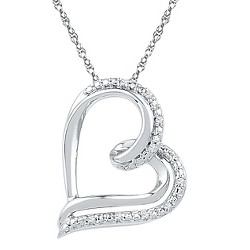 0.030 CT. T.W. Round White Diamond Prong Set Heart Pendant in Sterling Silver (IJ-I2-I3)