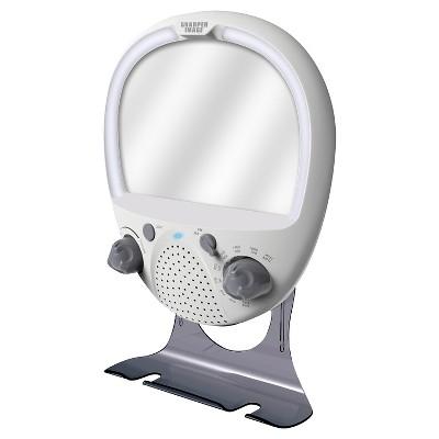 amfm shower radio with fog free mirror sharper image