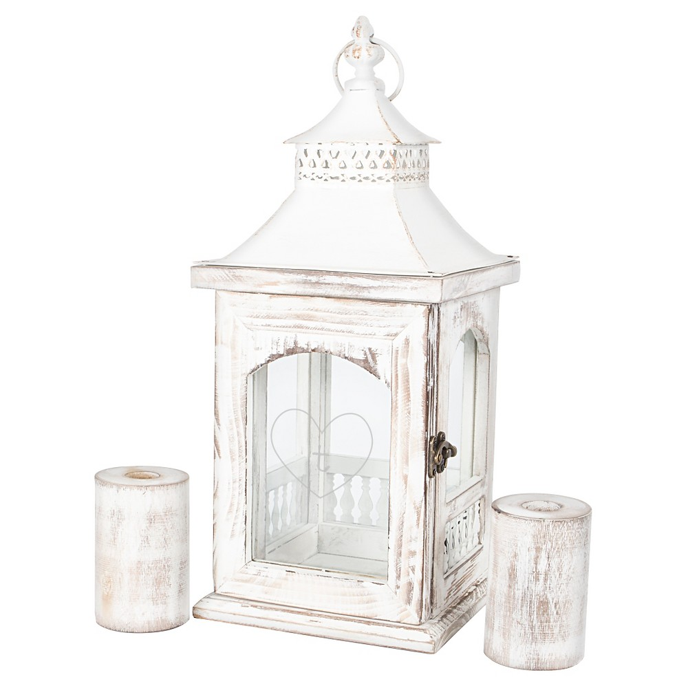 Monogram Heart Rustic Unity Lantern with 2 Candle Holders – T, Stone-T