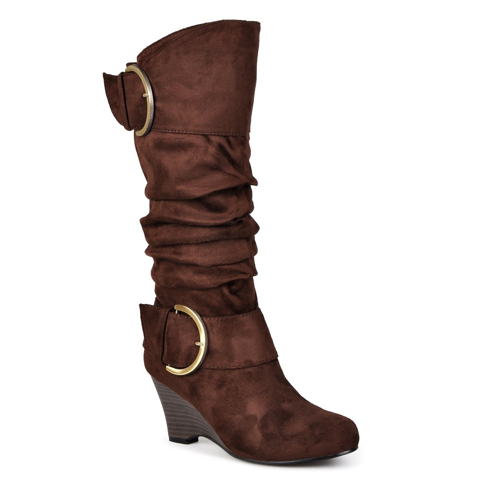 Womens Journee Collection Irene1 Slouch Wedge Knee-High Boots - Brown 8.5