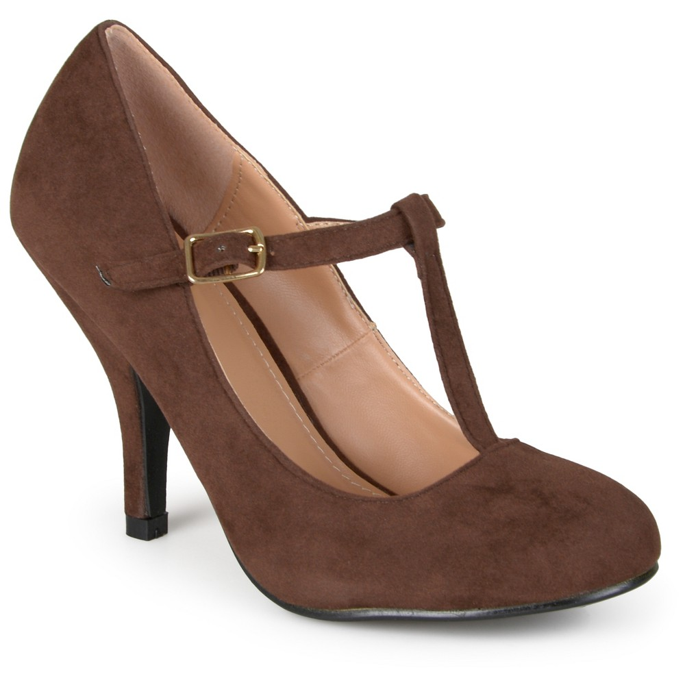 Womens Journee Collection Lisa T-strap Mary Jane Pumps - Brown 9