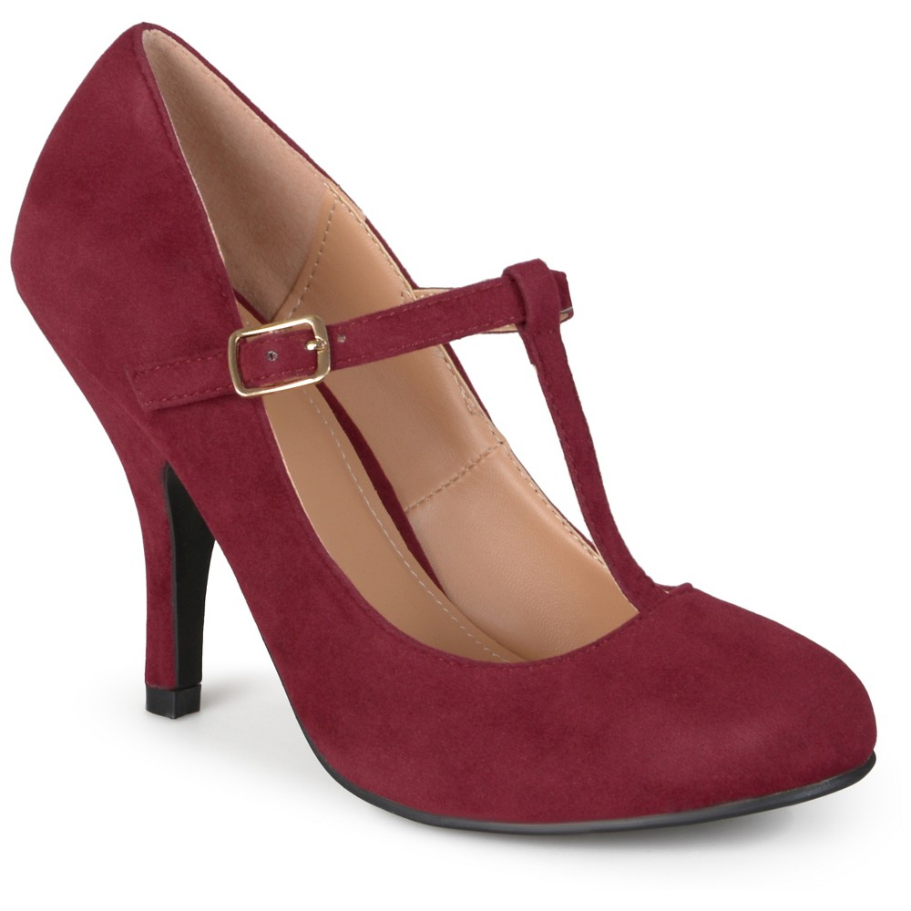 Women's Journee Collection Lisa T-strap Mary Jane Pumps - Wine 10, Red