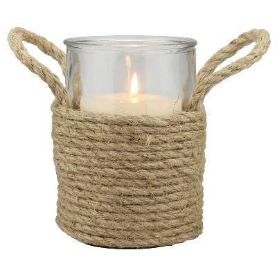 Stonebriar Nautical Rope Wrapped Pillar Candle Holder with Handles - CKK Home Decor