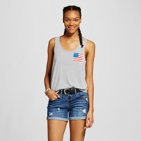 Women's Flag Pocket Graphic Tank Gray - Fifth Sun (Juniors') - image 1 of 2