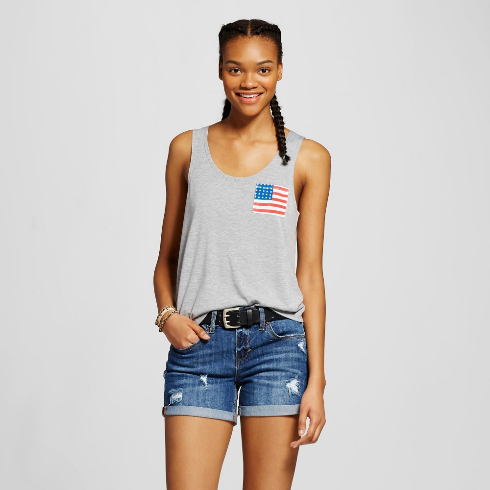 Womens Flag Pocket Graphic Tank Gray L - Fifth Sun (Juniors)
