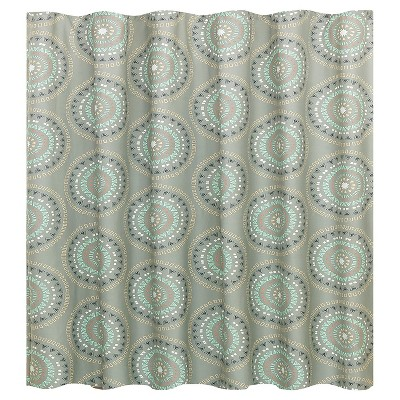 Medallion Shower Curtain Gray/Turquoise - Room Essentials™