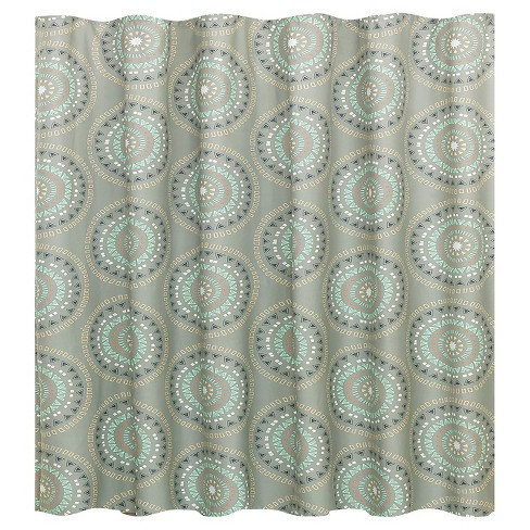 Medallion Shower Curtain Gray Turquoise