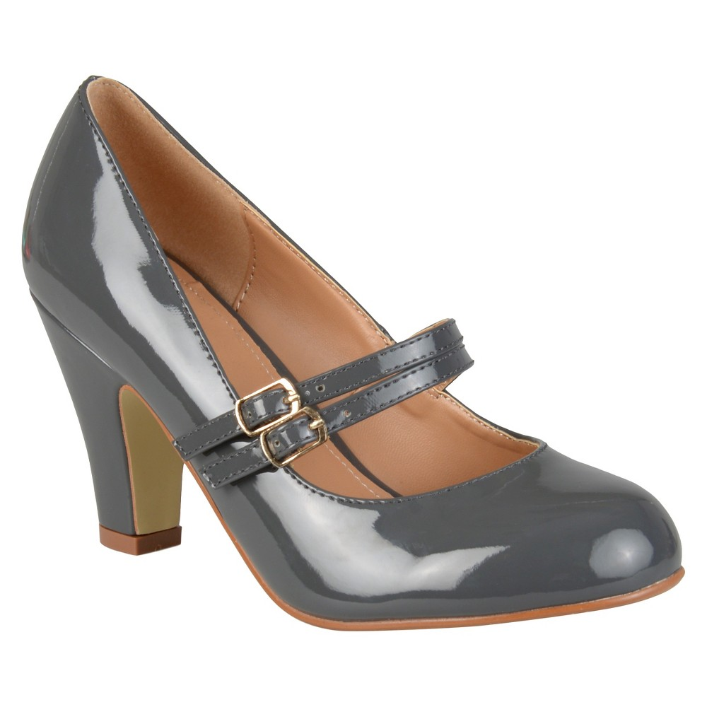 Womens Journee Collection Wendy Mary Jane Patent Leather Pumps - Gray 8.5