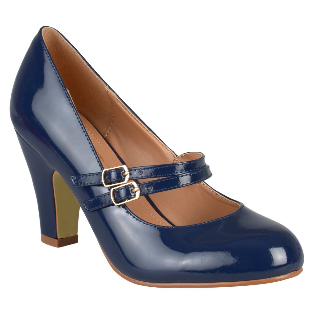 Womens Journee Collection Wendy Mary Jane Patent Leather Pumps - Navy (Blue) 10