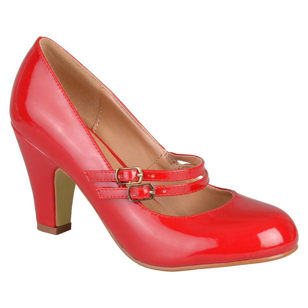 Womens Journee Collection Wendy Mary Jane Patent Leather Pumps - Red 7.5